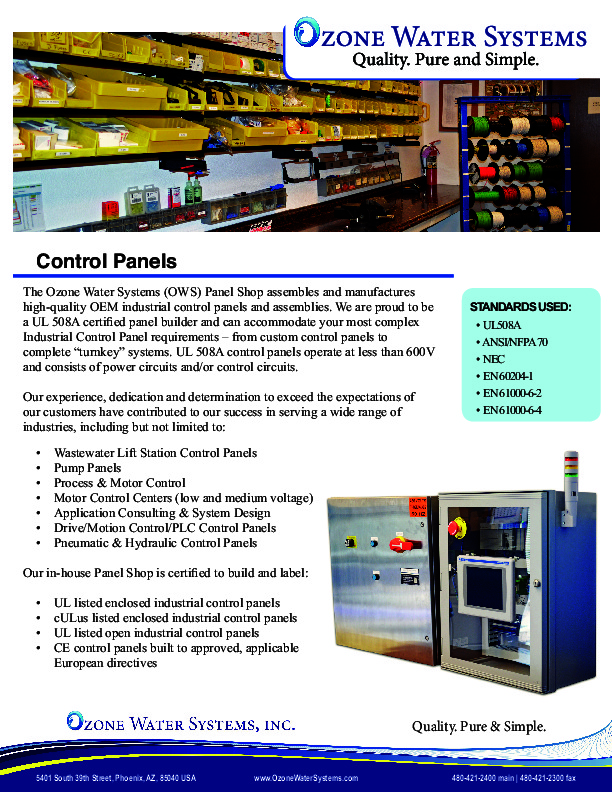 Control Panel - Ozone Water Systems